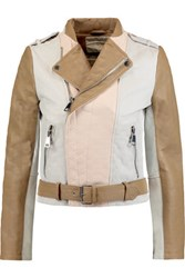 Maje Color Block Textured Leather Jacket Multi