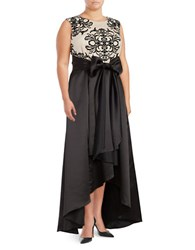 Betsy And Adam Plus Sleeveless Hi Lo Gown Black Nude