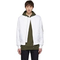 Yves Salomon White And Green Fur Lined Bomber Jacket