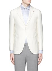 Isaia 'Sailor' Silk Linen Wool Hopsack Blazer White
