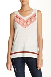 Green Dragon Linen Jersey Knit Embroidered Tank Multi