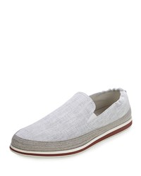 Prada Denim Slip On Espadrille White