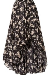 Michael Kors Collection Asymmetric Floral Print Silk Chiffon Midi Skirt Black