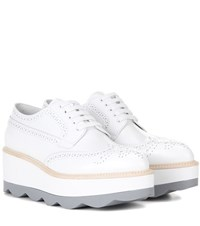 Prada Platform Leather Brogues White