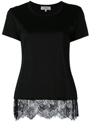 Carven Lace Trim T Shirt Black