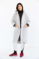 Silence And Noise Silence Noise Nubby Hooded Duster Jacket Grey