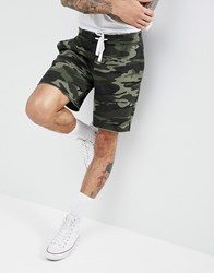Hollister Camo Print Icon Seagull Logo Sweat Shorts In Olive Green Olive Green