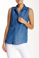 Andrea Jovine Sleeveless Chambray Pocket Shirt Blue