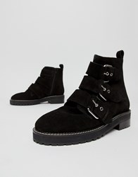 Office Artillery Chunky Black Suede Three Buckle Boots Black Suede