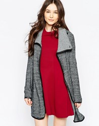 Wal G Longline Cardigan With Funnel Neck Grey