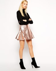 Antipodium Retriever Skirt In Metallic Coated Fabric Metallic Foil