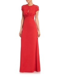 Yigal Azrouel Floral Lace Silk Gown Red