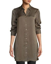 Dex Embroidered Back Button Front Satin Blouse Olive