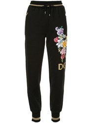 Dolce And Gabbana Floral Embroidered Track Pants Black