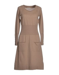 Bruno Manetti Knee Length Dresses Beige