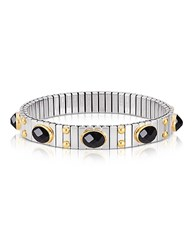 Nomination Small Black Cubic Zirconia Stainless Steel W Golden Studs Women's Bracelet Silver