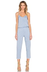 Stateside Chambray Woven Sleeveless Scoop Neck Jumpsuit Blue