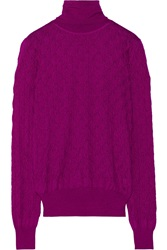 Missoni Cashmere And Silk Blend Knit Turtleneck Sweater Purple