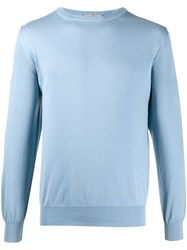 Canali Long Sleeve Fitted Jumper Blue