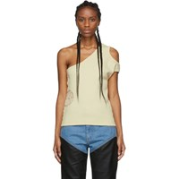 Telfar Off White Asymmetrical Thermal Tank Top
