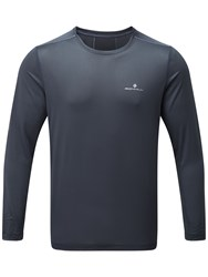 Ronhill Stride Long Sleeve Running Top Charcoal Electric Blue