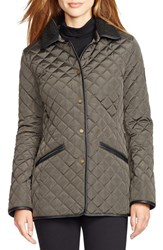 Women's Lauren Ralph Lauren Faux Leather And Shearling Trim Quilted Jacket