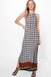 Boohoo Elephant Print Pom Pom Maxi Dress Multi
