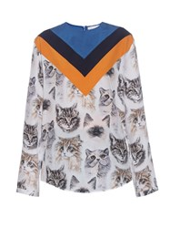 Stella Mccartney Chevron Cat Print Long Sleeved Top Multi