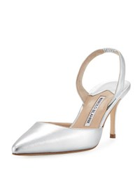 Manolo Blahnik Carolyne Metallic Leather Mid Heel Slingback Pump Silver