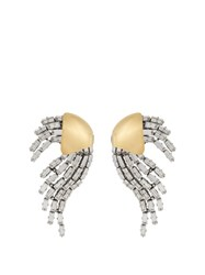 Saint Laurent Cocktail Ribbon Wave Embellished Clip On Earrings Silver