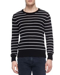 Ovadia And Sons Striped Crewneck Sweater With Zipper Detail White Black