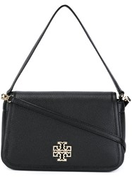 Tory Burch Logo Plaque Flap Shoulder Bag Black