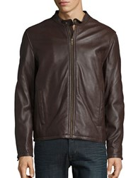 Cole Haan Leather Zip Front Moto Jacket Java