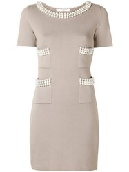Charlott Pearl Embellished Dress Nude And Neutrals