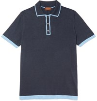 Tod's Contrast Tipped Silk And Cotton Blend Polo Shirt Storm Blue