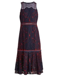 Jonathan Simkhai Sleeveless Fluted Hem Embroidered Lace Dress Navy Multi