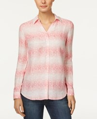 Charter Club Linen Roll Tab Shirt Only At Macy's Glamour Pink Combo