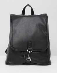 Monki Faux Leather Clasp Backpack Black