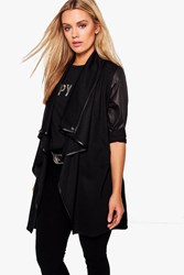 Boohoo Plus Malin Contrast Trim Waterfall Duster Black