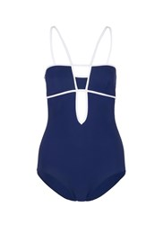 Araks 'Harlow' Piped One Piece Swimsuit Blue