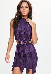 Missguided Purple Frilled Front Mini Skirt