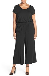 Plus Size Women's Sejour Short Sleeve Jersey Crop Wide Leg Jumpsuit Black