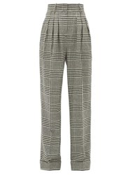 Emilia Wickstead Francis Prince Of Wales Wool Blend Trousers Black White