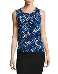 Nipon Boutique Pleated Brush Print Sleeveless Blouse Imperial Blue