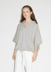 Y's Cropped Cotton M Hood Pullover Light Grey
