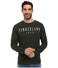 Timberland Kennebec Linear Logo T Shirt Dark Cilantro Men's T Shirt Black