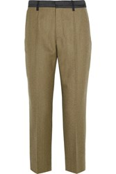 Maison Martin Margiela Cropped Wool Gabardine Slim Leg Pants Army Green