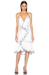 Proenza Schouler Drop Waist Ruffle Dress In White