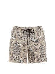 Etro Paisley Print Technical Twill Swim Shorts Light Brown