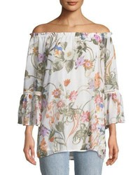 Chelsea And Theodore Off The Shoulder Floral Print Blouse Multi